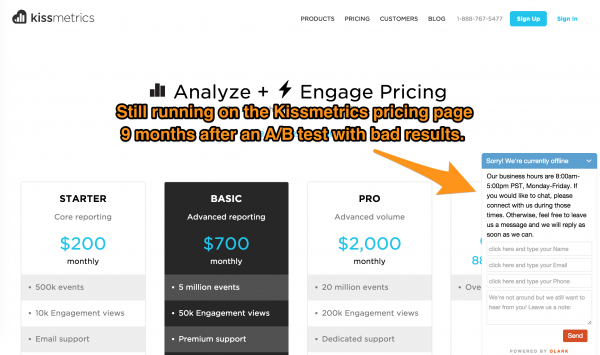 Kissmetrics Life Chat Tool on Pricing Page
